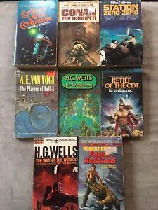Vintage Sci-fi Fantasy Paperback Lot Conan Robert E Howard HG Wells Etc