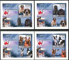 {025} Sao Tome & Principe 2008 Dogs 4 S/S Deluxe MNH**