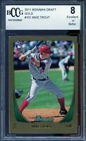 2011 Bowman Draft Gold #101 Mike Trout Rookie Card BGS BCCG 8 Excellent+