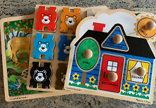 Melissa and Doug Wooden Puzzles Toys LOT OF 3