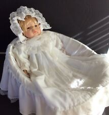 Beautiful Duck House Heirloom Doll in Original Christening Outfit and Cradle
