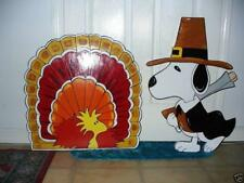 HAND MADE SNOOPY AND TURKEY BIRD THANKSGIVING FALL YARD ART DECORATION