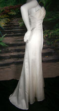 DESTINY WEDDING GOWN IVORY SIZE 6-8 SHEATH COLUMN STRAPS OR STRAPLESS BEACH LACE