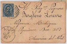 54822 - REGNO: UMBERTO I - STORIA POSTALE :  Sass 40 ISOLATO su BUSTA a USA 1882