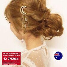 Women lady BOHO Crystal Moon Tassel hair head tassel Chain Clip Brooch Cuff