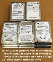 "Lot of 20 Major Brands 160GB SATA 5400rpm 8MB Int 2.5"" Laptop HDD - Express Mail"