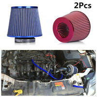 "2X Universal Car Truck Cold Air Intake Filter Cleaner 3""75mm Dual Funnel Adapter"
