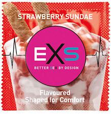 1x EXS STRAWBERRY FLAVOUR LATEX LUBRICATED NOVELTY CONDOM CONDOMS CE KITEMARK