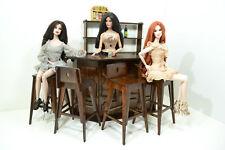 NEW BAR SET furniture for Dolls 12 in 1:6 FR Barbie wooden PUB RESTAURANT