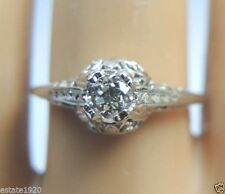 Antique Diamond Engagement Ring 18K White Gold EGL USA Ring Size 6 Art Deco Fine