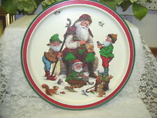 Vintage Christmas Tray Santa Claus Elves & Animals By Wim