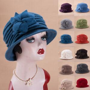Womens 1920s Look 100% Wool Beret Beanie Cloche Bucket Winter  Hat A543