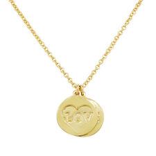 925 Plata de Ley Oro Amarillo Chapado Mujer Corazón Amor Collar con Colgante