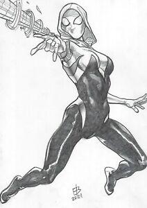 "Spider-Gwen (09""x12"") - original comic art 1/1 by Edilson Bilas - CosmoTrama"