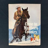 "1970 MARLBORO MAN Country Cigarette Tobacco Smoking Vintage Print Ad Decor 13.5"""