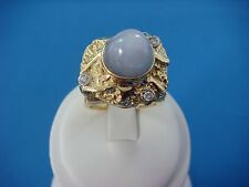HEAVY 32.5 GRAMS 18K YELLOW GOLD GENUINE STAR SAPPHIRE AND DIAMONDS MEN'S RING
