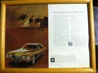 1972 Gold CADILLAC Sedan DeVILLE Luxury Car - 2 Page VINTAGE AD framed