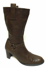 sz 8.5 / 39 TONY BIANCO brown leather cowboy-style boots calf-high NEAR NEW!
