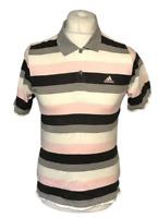 Adidas Men's Polo T Shirt Pink Black Striped Short Sleeve Small