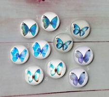 Blue butterfly Round Glass Cabochon Dome Flat Back Cover 10PCS 12mm A151