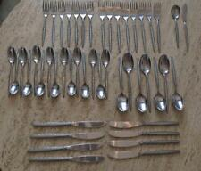 Vintage 1974 Oxford Hall Stainless Steel Flatware Brittany Pattern 47 Pieces