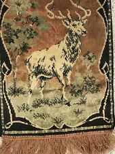VINTAGE ANTIQUE FRINGED WOVEN TAPESTRY TABLE RUNNER 12.5 X 48 STAG 1920'S 1930'S