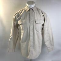 L.L. Bean Cream Long Sleeve Button Down Duo Pocket Shirt Mens Size Medium