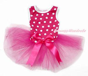 Hot Pink White Polka Dot Sleeveless Hot Pink Bow Skirt Pet Dog One Piece Dress