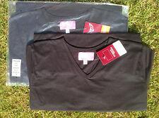 Trojan womens short sleeve v neck BLACK T Shirt 100% cotton size 14