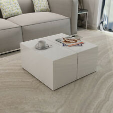 High Gloss White Coffee Table Modern Style Living Room Furniture Storage Unit