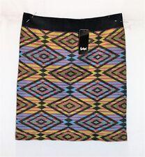 Sportsgirl Black Multi Printed Bodycon Mini Skirt Size S/M BNWT #SD71