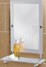 Modern Stylish Frosted Edge Rectangular Wall Mounted Mirror with Glass Shelf New