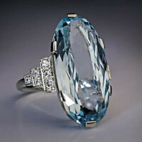 Elegant 925 Silver Wedding Rings Women Oval Cut Aquamarine Rings Size 6-10 ~~