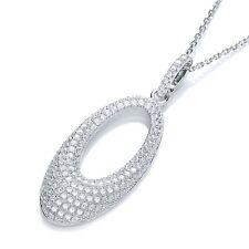 J JAZ Helena Sterling Silver Oval Shaped Cubic Zirconia Pendant Necklace