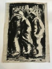 """Colin Moss ARCA (1914-2005) """"Leaving Work"""" lithograph 1951 Artists Proof"""
