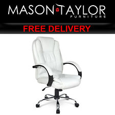 Mason Taylor Executive PU Leather Office Computer Chair White OCHAIR-9127-WH