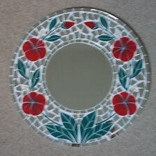Superba realizzati a mano Specchio mosaico fantasia papavero. colore ROSSO 40 cm di larghezza