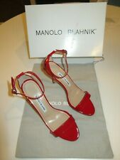Manolo Blahnik Red Patent Ankle Strap Sandal Sandals Size 6.5