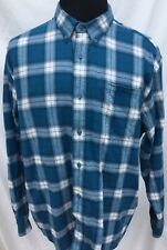 Cabelas Mens XL Shirt Long Sleeve Button Front Blue Flannel Plaid Cotton Hunting
