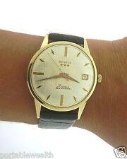Vintage Benrus Date Wrist Watch 14K Yellow Gold Gents 39 Jewels Self Winding