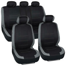 Car Seat Cover Set Two Tone Gray/Black w/Headrest Covers Sedan Truck SUV Van-9PC