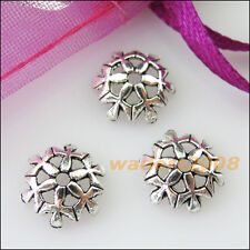 30 New Connectors Snowflake Flower Tibetan Silver End Bead Caps 10mm