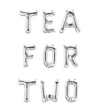 """TEA FOR TWO Letter Balloons - 16"""" Silver Letters - Two Year Old Birthday - US"""