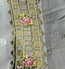 "Antique French Silk Roses & Gold Metallic Brocade Textile Fabric~L-11"" X W-20"""