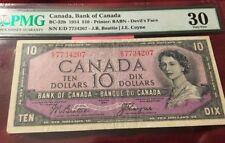 1954 $10 CANADA PMG 30 DEVIL'S FACE BC-32b DEVILS BANKNOTE SN F/D 2844462 STAPLE