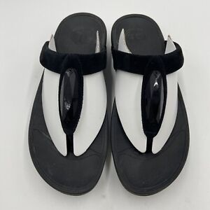 Fitflop Women Black Crystal Leather Suede Thong Sandals Size US 8