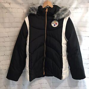 NFL Football Reebok Pittsburgh Steelers winter puffer jacket removable sleeves