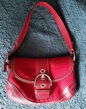 COACH Red Leather Signature C Buckle Flap Soho Hobo Shoulder Bag Purse#10925