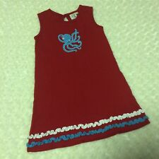 Luigi Kids Red Girls' Sleeveless Dress Octopus 6 Cotton