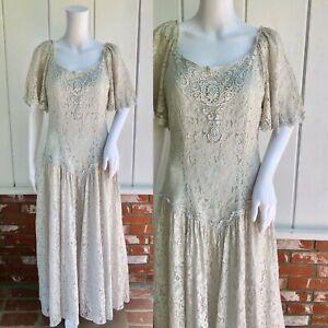 Vintage 80s 90s Romantic Sheer Sage Lace Victorian Flutter Wedding Tea Dress M